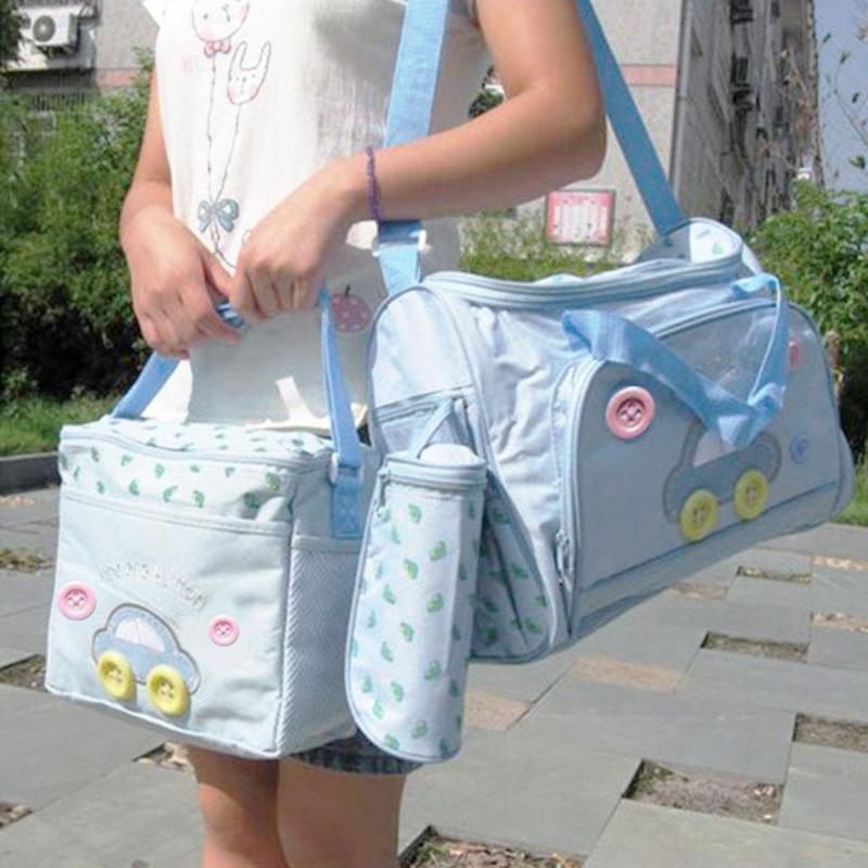 4pcs/set Waterproof Mummy Shoulder Bags Multifunction Mom Baby Stroller Bag Maternity Cartoon Handbag Baby Feeding Bottle Care