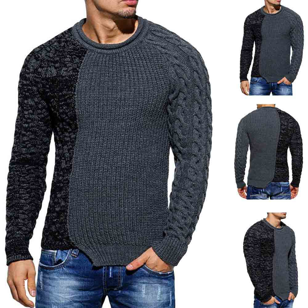 New Style Men's European And American Fashion Women Cool Color Panel Wild Pullover Slim-Fit Sweater