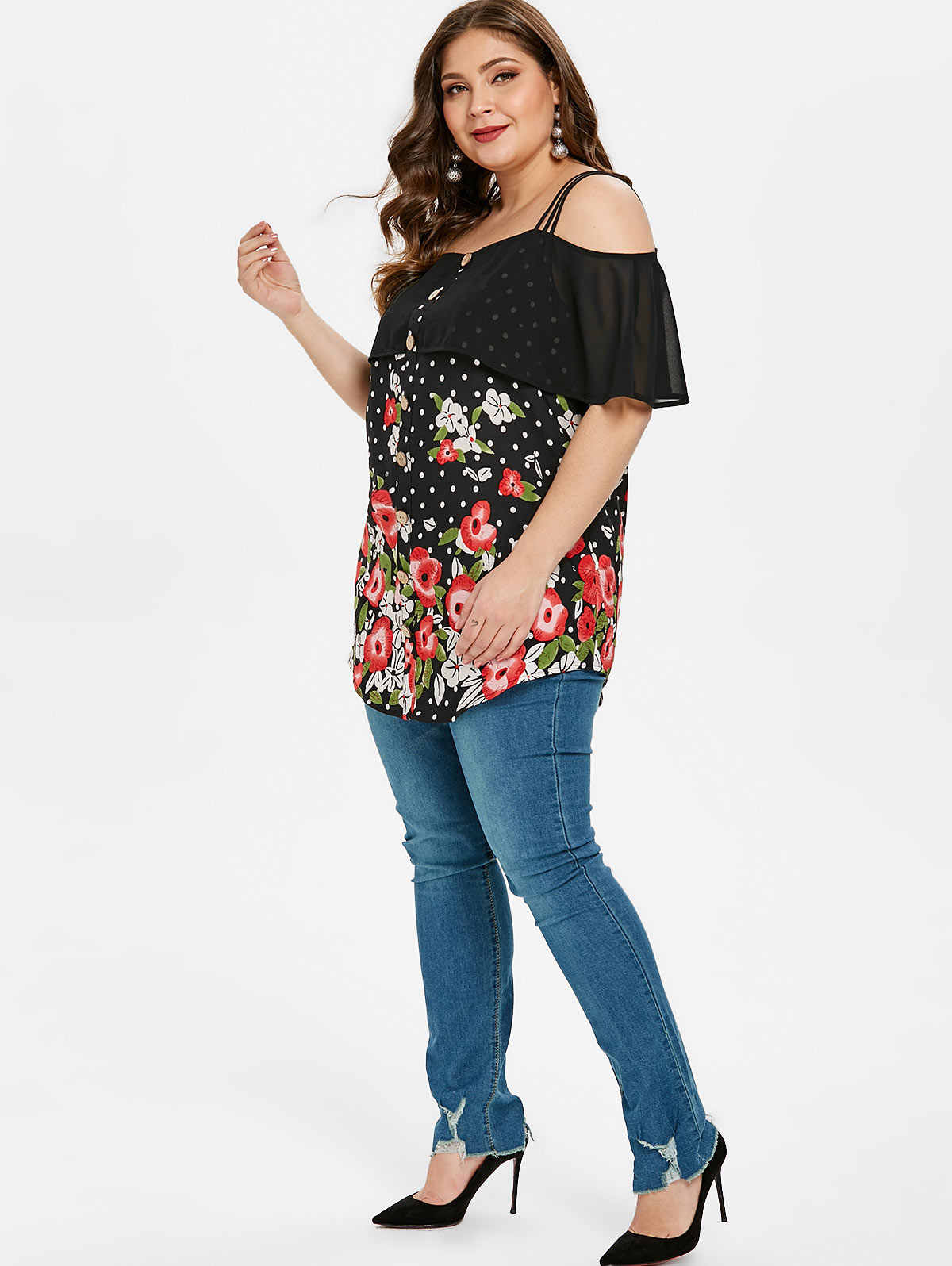 7c193d5238368 Wipalo Women Plus Size Cold Shoulder Dot Floral Print Ruffled Blouse  Spaghetti Strap Casual Chiffon Blouse Summer Ladies Top 5XL