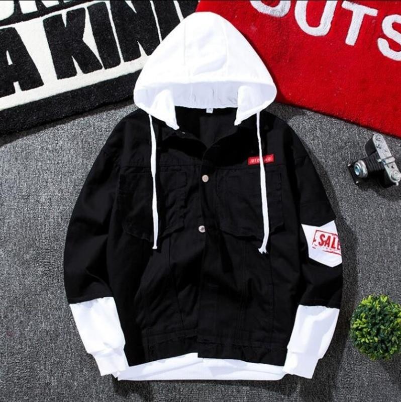 3408 Spring 2019 Hip Hop Mens Denim Jacket Hooded Homme Patchwork Letter Print Slim Ripped Black Jeans Jacket Men Streetwear in Jackets from Men 39 s Clothing