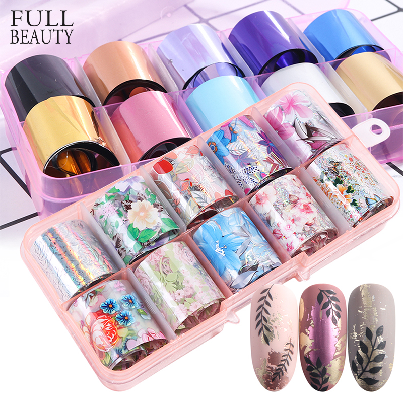 10pc Laser Rose Gold Matte Metal Foil Nails Holographic Flower Starry Sky Nail Foils Transfer Sticker DIY Manicure Decals CH943