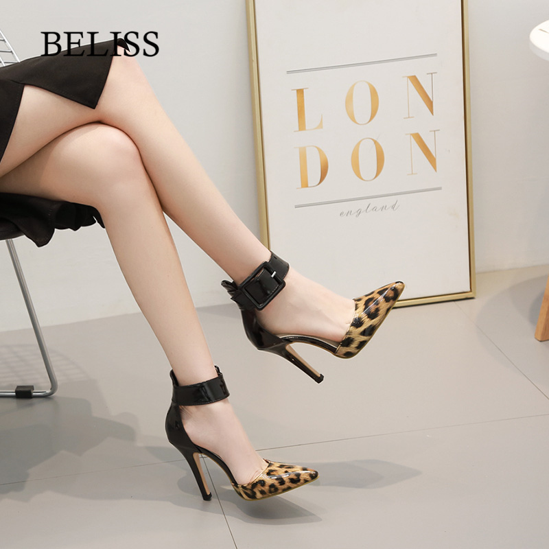BELISS Women Sandals Fashion Leopard Patent Leather Woman Sandals 2019 Summer Buckle Sexy Ankle Wrap Ladies Shoes High Heels S34 in High Heels from Shoes