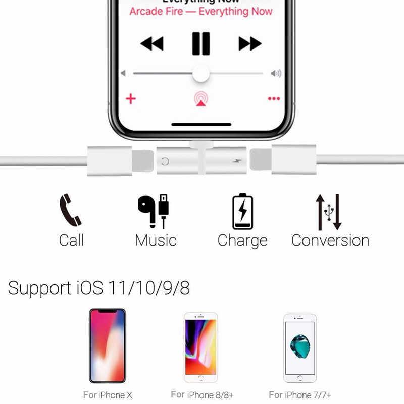 Para iphone 7 Adaptador 2 en 1 Aux Jack Auriculares auriculares Audio Splitter Cable carga música para iphone X XS max XR 7 8 Plus