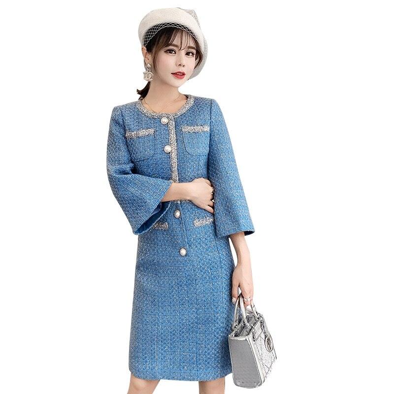 Brand Luxury Blue Christmas Tweed Dress 2018 Winter Office Women Pearl Buttons Sheath Robe Femme Hiver Bodycon Woolen Dresses