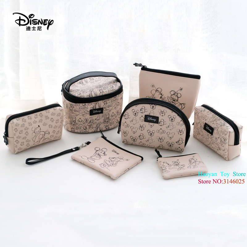 Genuine Disney 7pcs/set Mickey Minnie Multi-function Women Bag Wallet Purse Baby Care Bags Fashion Mummy Bags Disney Girls Gifts Nappy Changing