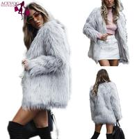 Long Gray Women Club Jacket Party Outerwear Faux Cardigan Fur Sleeve Street etc Casual Overcoat Winter Coat Solid