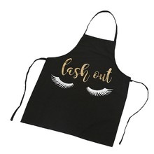 NHBR-Lovely Bronzing Eyelash Pattern Kitchen Apron Women Adult Home Cooking Baking Cleaning Aprons Bibs Kitchen Tools Accessor(China)