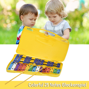 25 Notes 8 Notes Glockenspiel Xylophone Percussion Rhythm Musical Instrument Toy with 2 Mallets Handheld Case for Baby Children