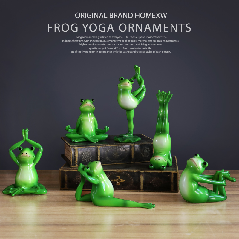 Set of 6pcs Yoga Frogs Figurines resin Miniature for Home Desktop Resin Kawaii home decoration accessories