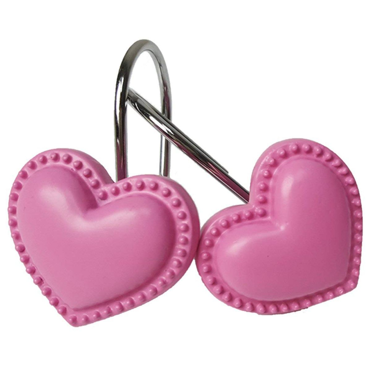 Heart Shaped Rust Resistant Decorative Shower Curtain Hooks 12- Pack Pink HeartHeart Shaped Rust Resistant Decorative Shower Curtain Hooks 12- Pack Pink Heart