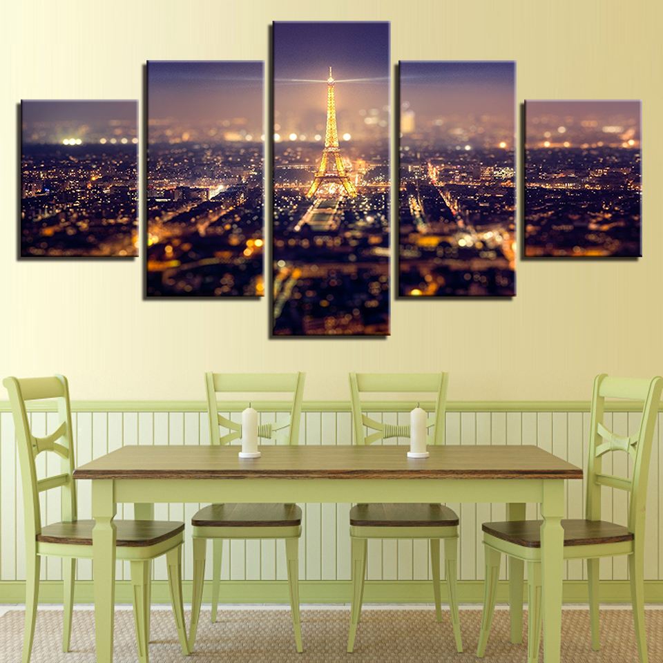 Top Rated Canvas Print Paintings Home Decor 5 Pieces Eiffel Tower Paris Night Landscape Poster Living Room Wall Art Framework in Painting Calligraphy from Home Garden