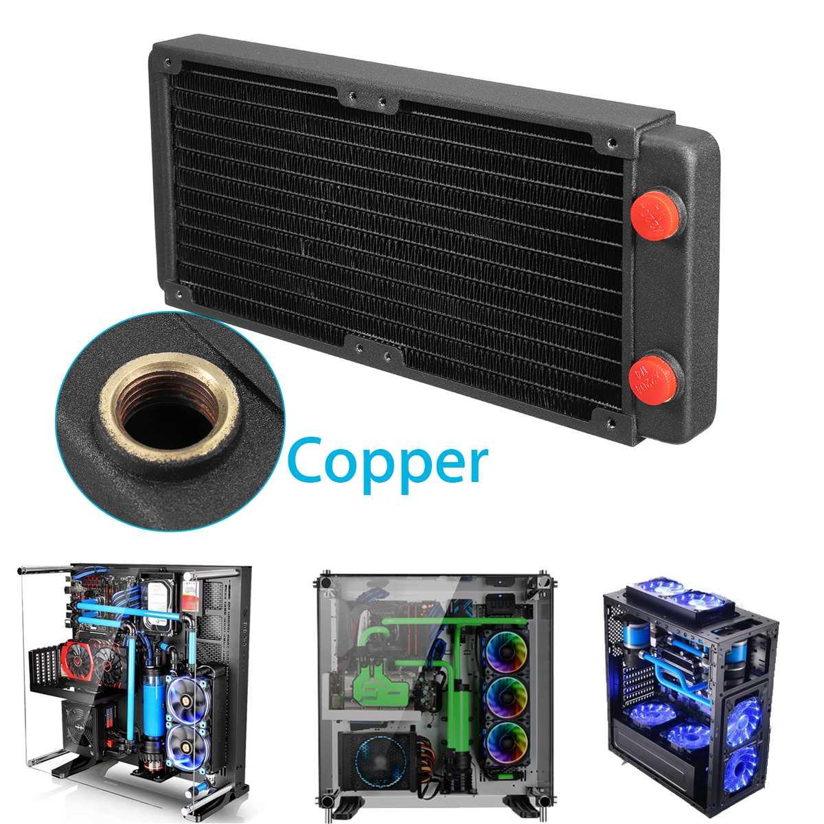 Refroidisseur d'eau en cuivre 240mm refroidisseur de processeur d'ordinateur radiateur radiateur radiateur échappement échangeur de chaleur refroidisseur d'eau