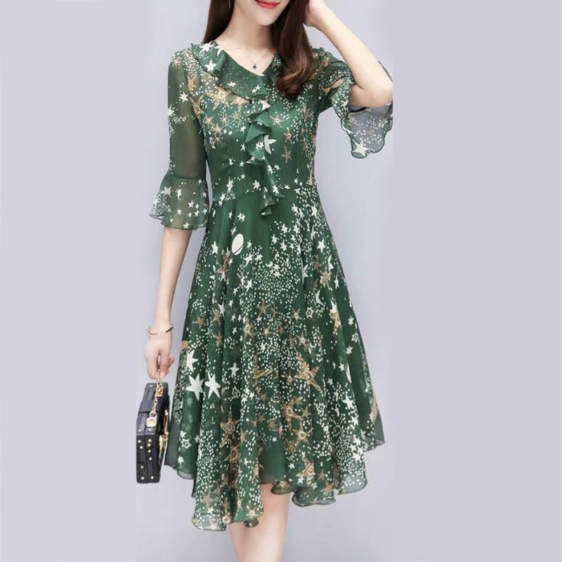 Summer Women Chiffon dresses Floral V Neck flare three quarter sleeve Ruffle Tunic Empire Waisted ladies A-iine Dress vestido