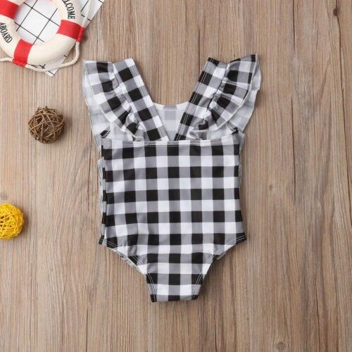Летние новорожденных обувь для девочек Купальники малышек плед ползунки с оборками комбинезон купальник комплект одежды купальный Цельнокроеный комплект