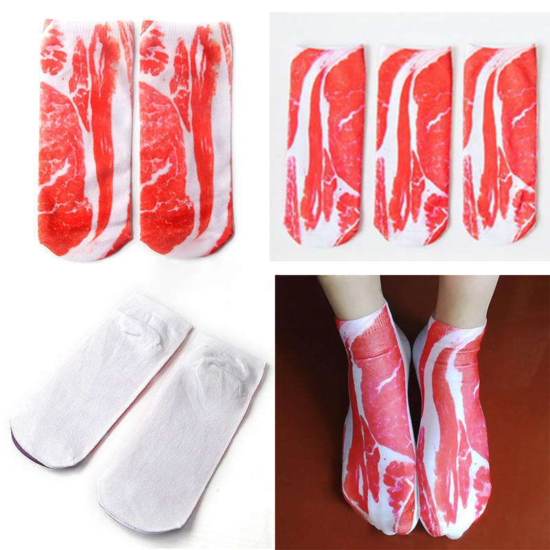 1 Pair Creative Bacon Printed   Socks   Unisex Men Women Meat Print   Socks   Funny 3D Pork Meat Bacon Low Cut Casual Ankle   Socks