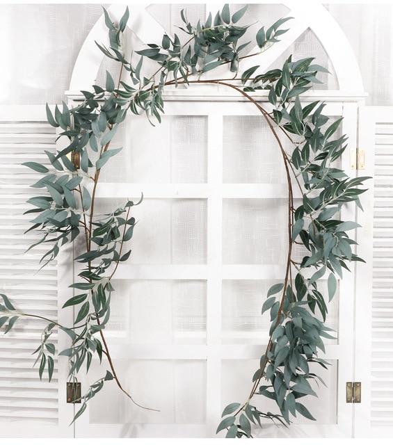 170cm mariage plafond enroulement route disposition rotin hôtel fenêtre décoration fleurs artificielles saule vigne faux feuillage couronne