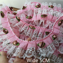 5cm Wide Pink 3d Rose Flowers Pleated Chiffon Folded Fabric Embroidery Lace Appliques Diy Dress Collar Clothing Sewing Supplies
