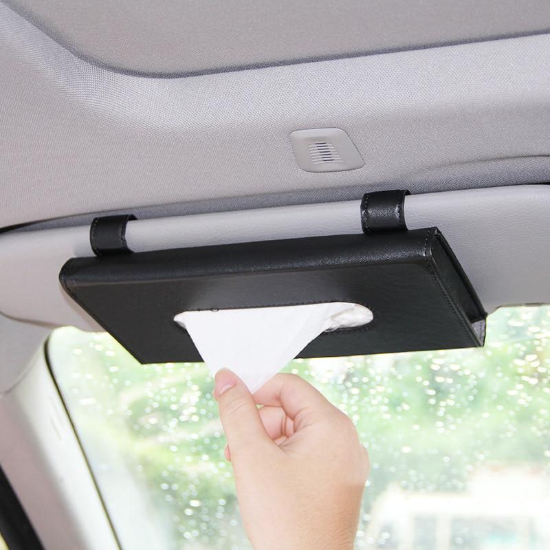 Car Sun Visor PU Leather Tissue Box Paper Napkin Case Cover Clip Holder Black
