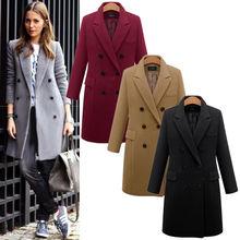 Autumn Winter Women Fashion Long Coat Warm Solid Woollen Overcoat Slim Type Female Trench Coats Plus Size 4XL