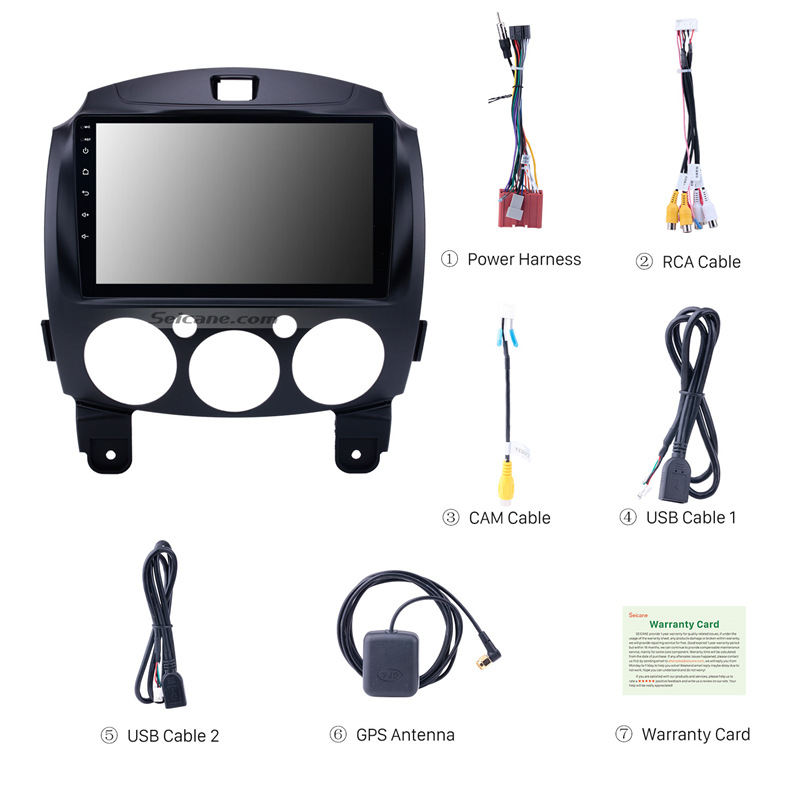 "Image 4 - Seicane Android 8.1 For MAZDA 2/Jinxiang/DE/Third generation 2007 2013 2014 Car Radio GPS 9"" 2Din Unit Multimedia Player 3G wifi-in Car Multimedia Player from Automobiles & Motorcycles"