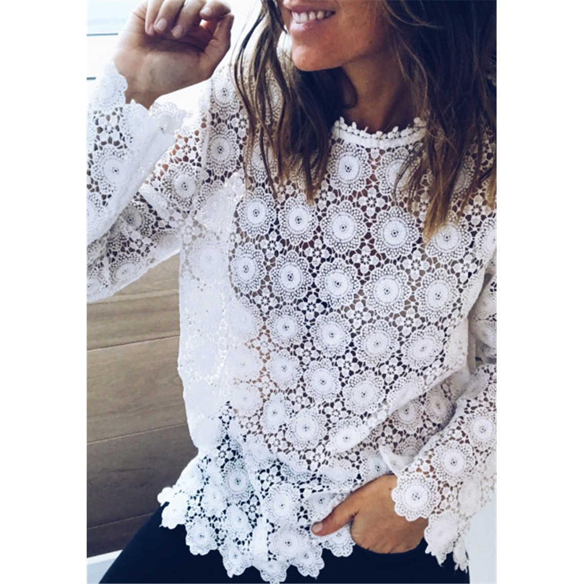 Moda Kadın Boho Plaj Tatil Yaz Gevşek Rahat Şifon Dantel Çiçek Oyalamak Beyaz Tops Femme kadın file sutyen Bluz