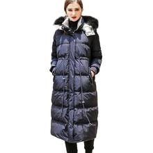 Duck Down Jacket Women Winter 2018 Outerwear Coats Europe street stand collar Hooded Female Long Casual Warm Parka branded HJ56