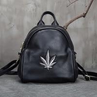 Genuine Leather Rucksack Girls School Daypack Travel Bag Leaf Pattern New Fashion High Quality Small Knapsack Women Backpack