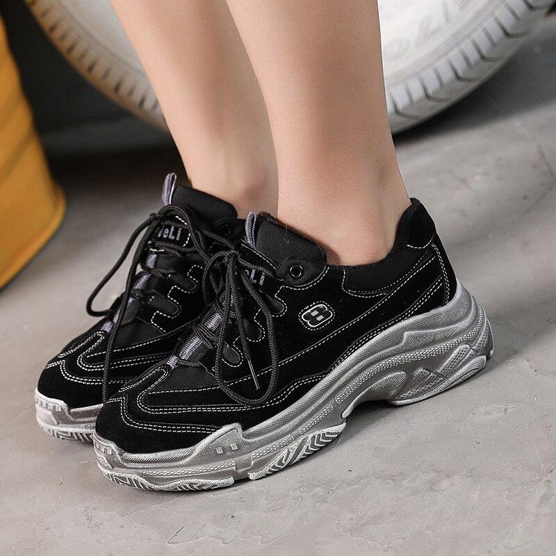 Studenten Ins Super Version Koreanischen Plattform Weiblichen Alte Feuer 1 Von Sport Schuhe 3 Retro Harajuku Ulzzang Bf 2 Leder vv1nr0q