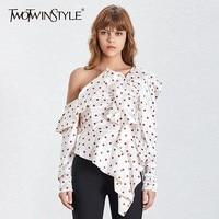 TWOTWINSTYLE Elegant Polka Dot Women Blouse Off Shoulder Puff Sleeve Irregular Ruffles Slim Shirt Female Summer 2019 Fashion