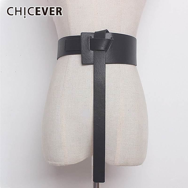 CHIEVER Summer Solid Color PU Leather Bandage Loose Long Irregular Belt Women Fashion Accessories 2020 New Tide