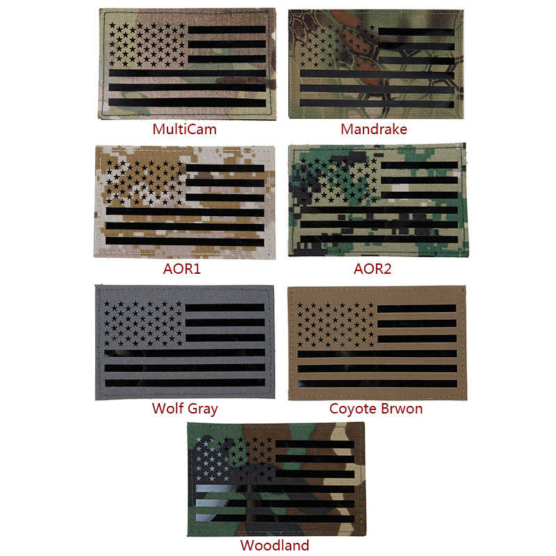 IDOGEAR Tactical Embroidered Patch USA Flag Name Large US Flag Military Badges Combat Gear Multicam AOR1 Right side
