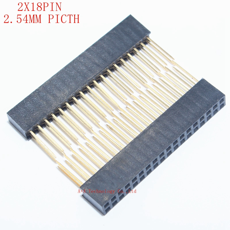 5PCS 2x18 PIN Double Row Straight FEMALE PIN HEADER 2.54MM PITCH Pin Long 11MM Strip Connector Socket 2*18 36 PIN 2x18pin Pc104