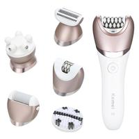 Hot KM 8001 5 In 1 Rechargeable Shaver Electric Epilator Shaving Hair Remover Women Depilation Massager Callus Removal Sets