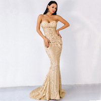 Vivian's Bridal Sexy Sweetheart Strapless Backless Sequin Party Dress Elegant Sweep Train Lace Appliques Women Evening Dress