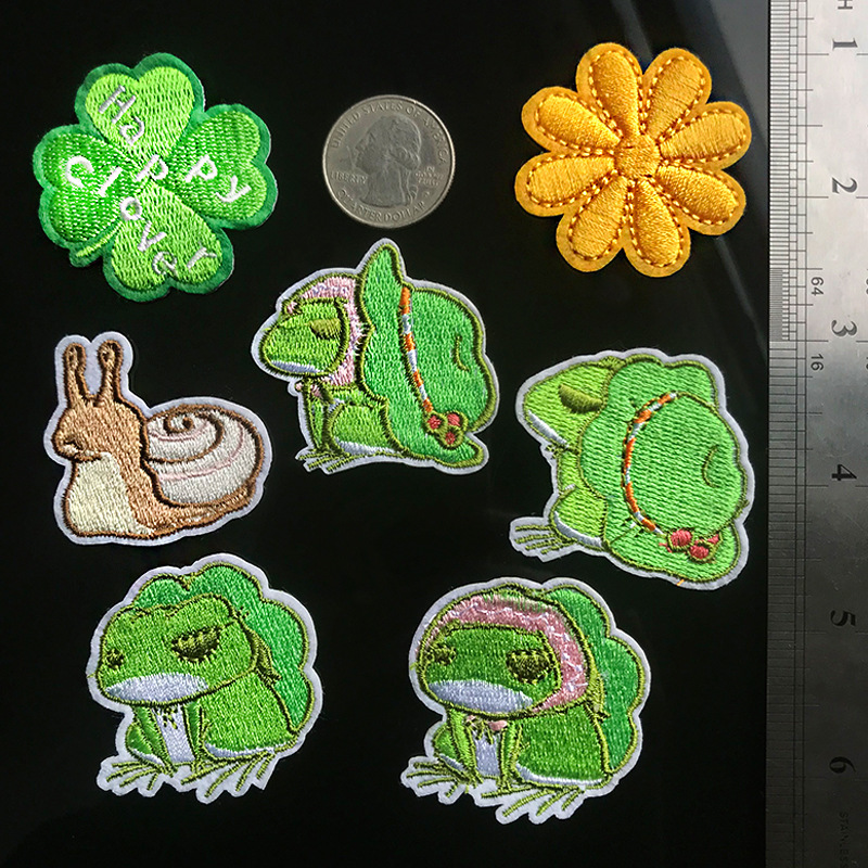 PGY Cartoon Animal Frog Iron On Patches for Clothing Game Frog Travel Back Rubber Embroidery Shoes And Hats Bag Patch Accessory
