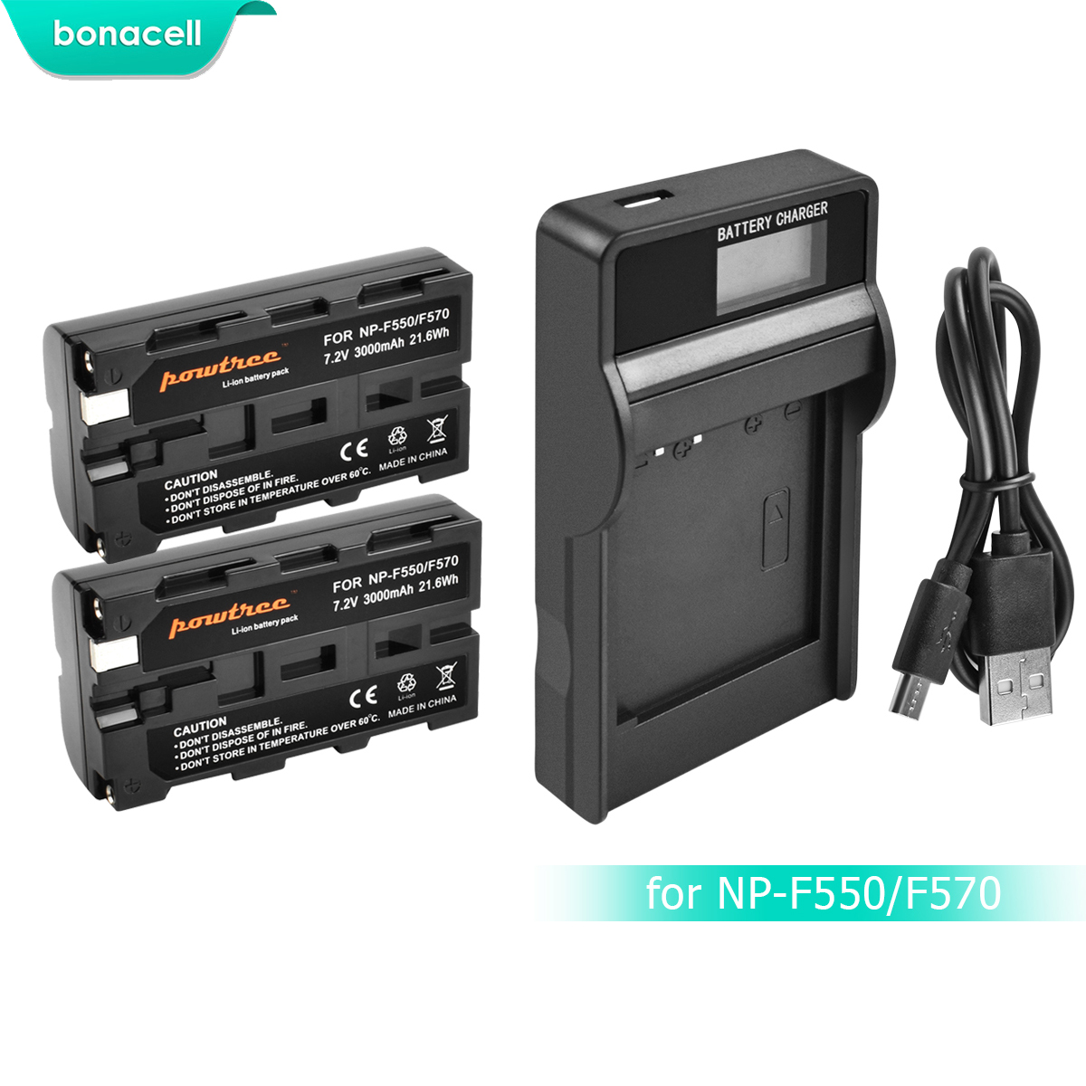 Bonacell 3000mAh NP-F550 NP F550 NPF550 Battery+LCD Charger For Sony NP-F330 NP-F530 NP-F570 NP-F730 NP-F750 Hi-8 GV-D200 L10