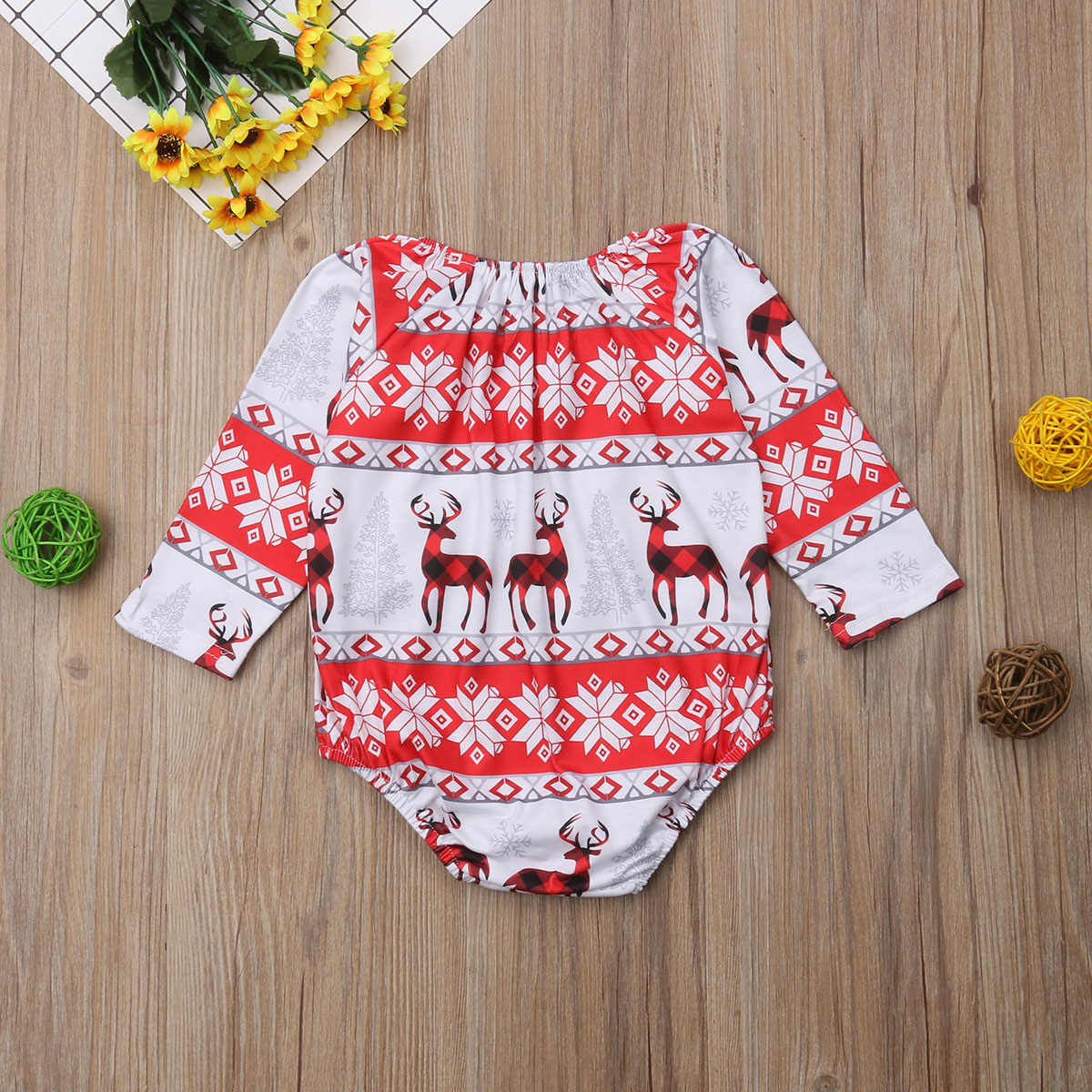 2018 Brand New Newborn Baby Girls Boys Christmas Bodysuits Long Sleeve Deer Print Jumpsuits Cotton Santa Xmas Jumpsuits 0-24M