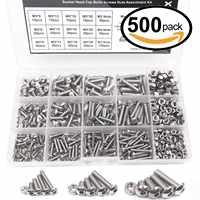 WSFS Heißer 500 stücke M3 M4 M5 A2 Edelstahl ISO7380 Taste Kopf Hex Schrauben Hexagon Buchse Schrauben Mit Muttern sortiment Kit