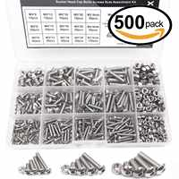 WSFS Hot 500pcs M3 M4 M5 A2 Stainless Steel ISO7380 Button Head Hex Bolts Hexagon Socket Screws With Nuts Assortment Kit