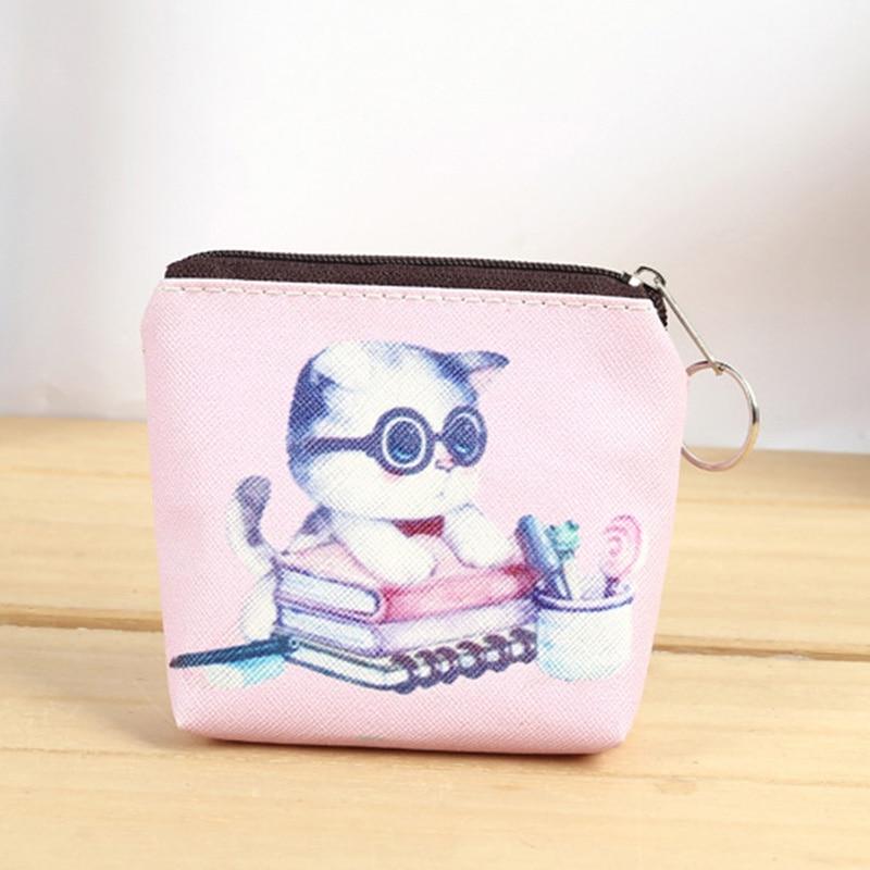Lovely Cartoon Cat Women Coin Purses Ladies Small Fresh Summer Party Banana Cat Stripe Cartoon Coin Purse Card Pocket