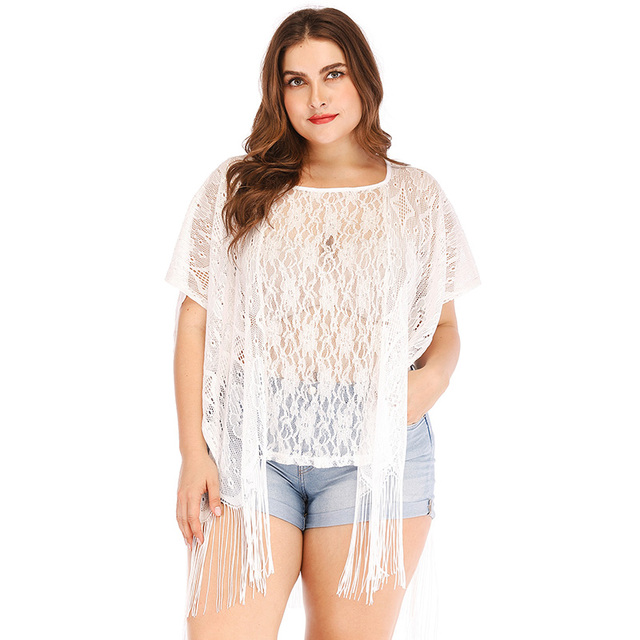 72838a08a6 2019 Sexy Plus Size Women Beach Cover Up Floral Lace Fringed Sheer Bikini  Top Swimsuit Coverups White Tops female tunic Oversize