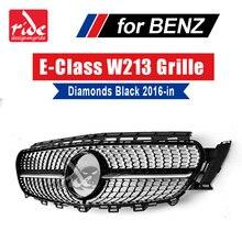 For MercedesMB W213 Diamonds Grille ABS Black E-Class E200 E250 E300 E350 E400 E500 E600 Sports With Camera Front 2016-in