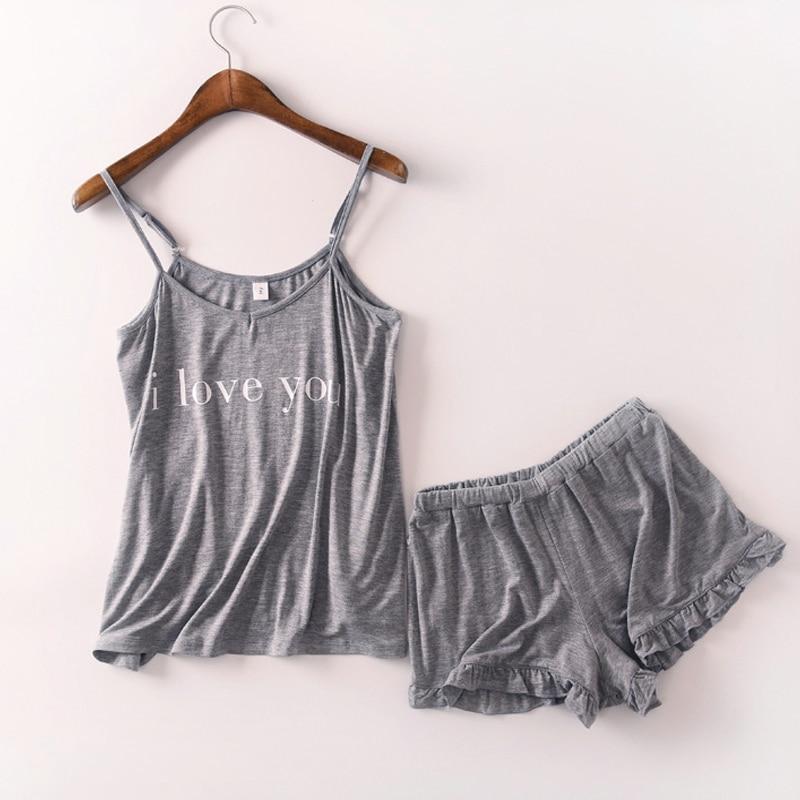 Loose sleepwear Letter Printing   Pajamas     Sets   2019 Summer Women Cotton   Pajama     Set   Sleeveless Top With Shorts   pajamas   for women
