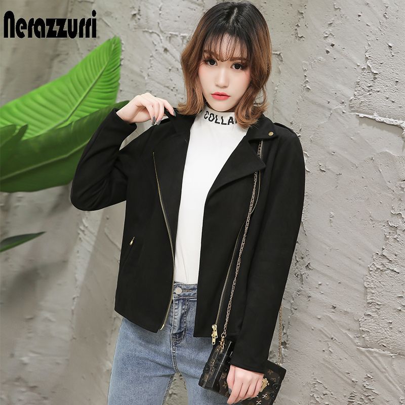 nerazzurri brown suede jacket women 2019 black beige plus size ladies faux leather coat zipper short