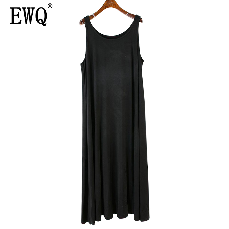 Women's Clothing ewq 2019 Summer New Pattern Round Collar Sleeveless Solid Patchwork Pullovers Casual Loose Vest Dress Women Ae41101 Bringing More Convenience To The People In Their Daily Life