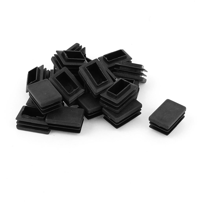 20 Pcs Plastic Rectangular End Cap 30mm X 20mm Threaded Pipe Tube Insert Rubber Feet