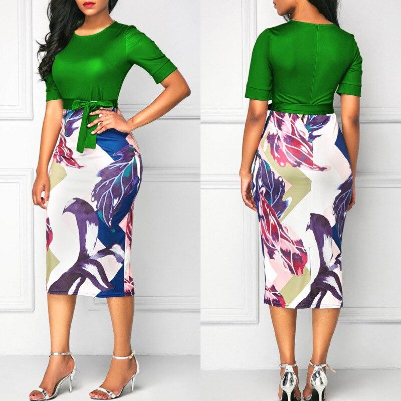 Женская обувь с принтом Клубное платье в обтяжку Вечеринка офисные женские облегающие Женские платье-футляр с цветочным принтом