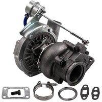T04E T3 T4 Turbo .63 A/R 44 Trim Universal Turbocharger Compressor Stage III Wastegate V Band Flange Oil Cold 420HP 2.0-3.5L