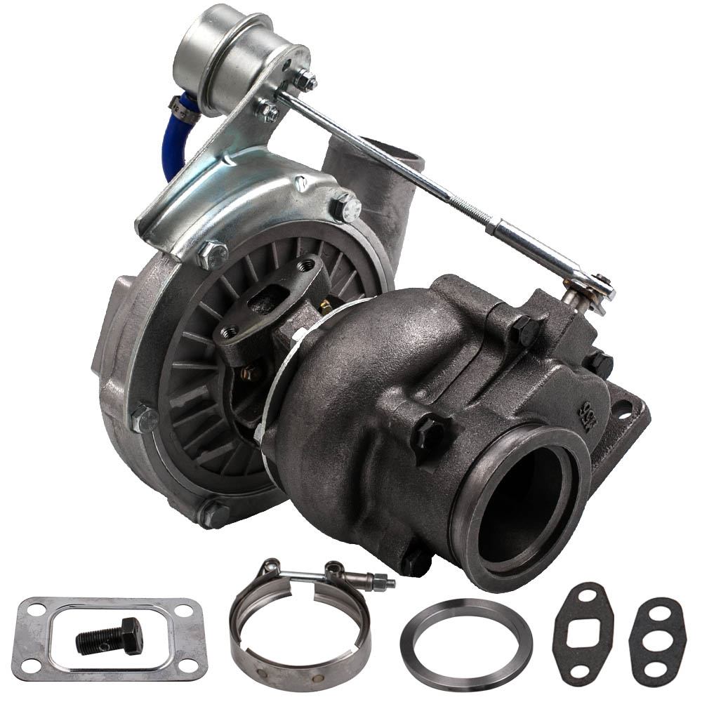 T04E T3 T4 Turbo .63 A/R 44 Trim Universal Turbocharger Compressor Stage III Wastegate V Band Flange Oil Cold 420HP 2.0 3.5L