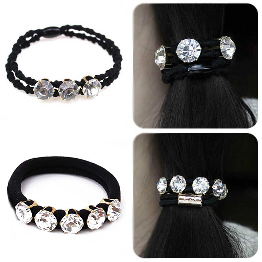 1PCS Women Big Diamonds Black Seamless Elastic Hair Rubber Bands Scrunchies Towel Hair Ties For Girls Rope Ring Hair Accessories